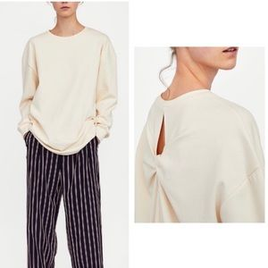 ZARA | Cotton Knotted Cream Crewneck Sweatshirt S